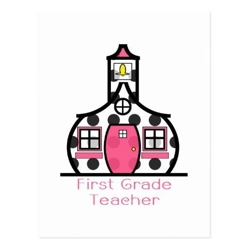 Escuela del lunar del profesor del primer grado postales