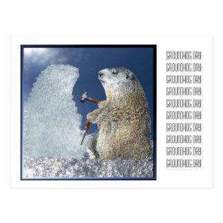 Escultura de hielo del día de la marmota postal