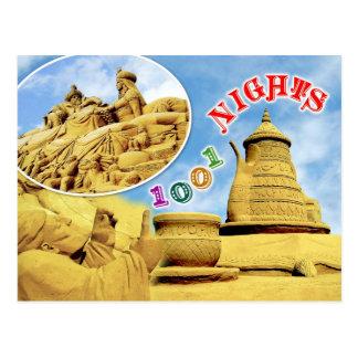 Escultura de la arena de las noches árabes, postal