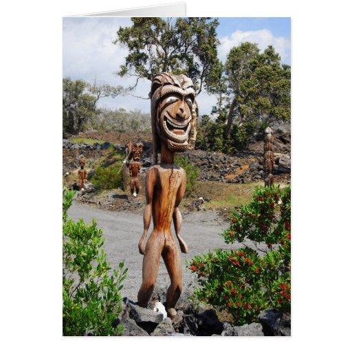 Escultura hawaiana de risa de Ki'i Tarjeton