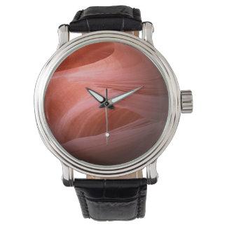 Esfera roja de la roca relojes de pulsera