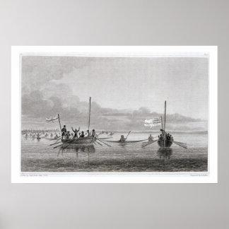 Eskimaux que viene hacia los barcos en los vagos d impresiones
