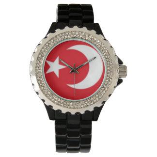 Esmalte de encargo del negro del diamante reloj de pulsera