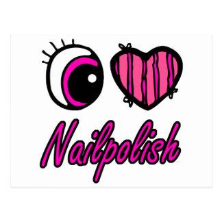 Esmalte de uñas del amor del corazón I del ojo de Postal