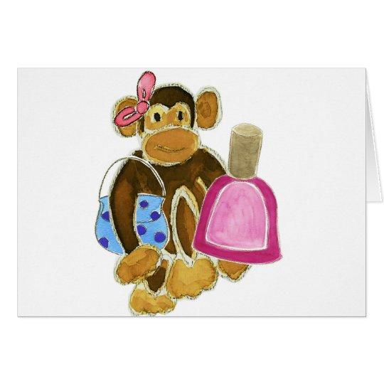 Esmalte de uñas del mono de la moda tarjeta de felicitación