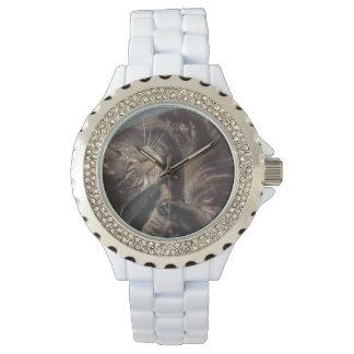 Esmalte juguetón del blanco del diamante reloj de pulsera