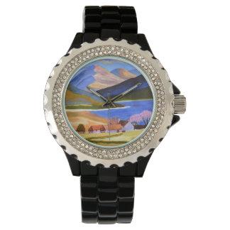 Esmalte negro del diamante artificial reloj
