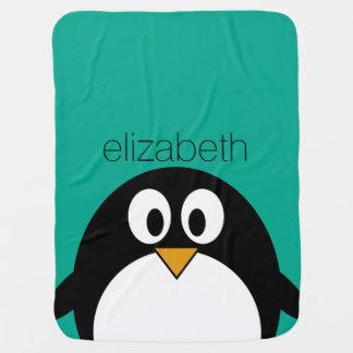 esmeralda linda y negro del pingüino del dibujo mantas de bebé