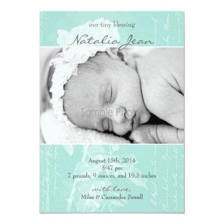 Esmeralda minúscula del nacimiento invitación 12,7 x 17,8 cm