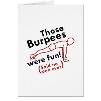 Eso Burpees era diversión Tarjeta De Felicitación