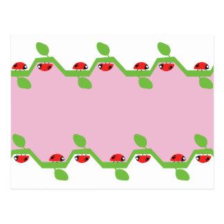 Espacio en blanco rosado de la mariquita postal
