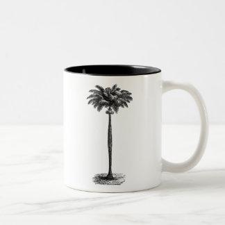 Espacio en blanco tropical de la plantilla de la taza de café de dos colores
