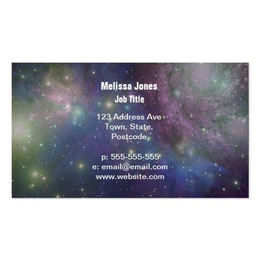 Espacio, estrellas, galaxias y nebulosas plantillas de tarjetas de visita