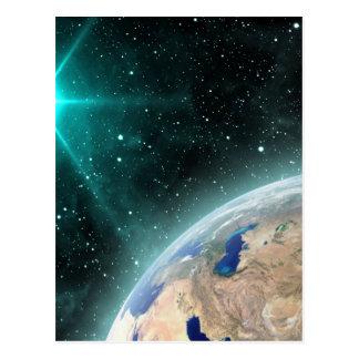 Espacio exterior de la tierra tarjeta postal