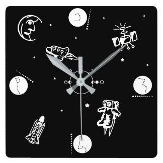 Espacio exterior reloj cuadrado