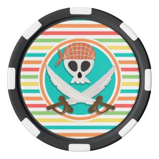 Espadas del pirata; Rayas brillantes del arco iris Fichas De Póquer