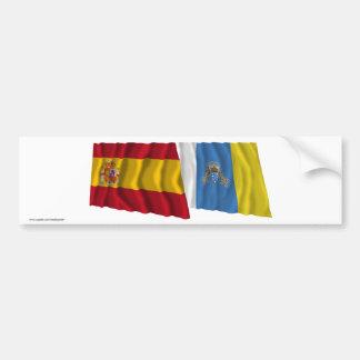 España y islas Canarias que agitan banderas Pegatina Para Coche