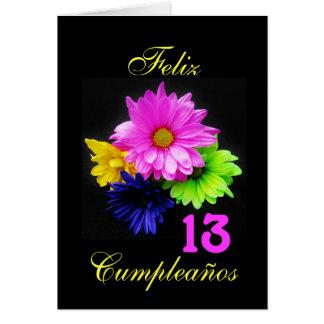 Español: ¡13 anos! Margaritas de neón Tarjeta De Felicitación