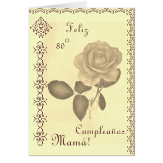 Español: 80 Cumples- Mamá/cumpleaños de la mamá el Tarjeta De Felicitación