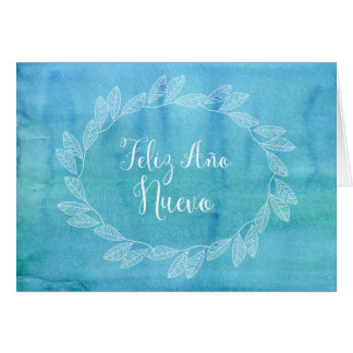 Español azul de la guirnalda de la acuarela de la tarjeta