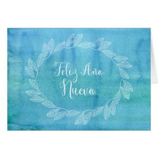Español azul de la guirnalda de la acuarela de la tarjeta de felicitación