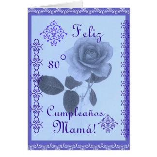 Español: Azul de Rosa - cumpleaños del mom Felicitaciones