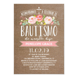 Español color de rosa Bautismo de la arpillera el Invitación 12,7 X 17,8 Cm