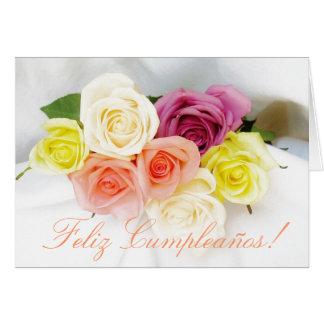 Español: Cumpleaños Cumpleanos blanco Tarjeta