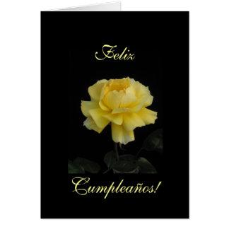 Español: cumpleaños Cumpleanos color de rosa, Rosa Tarjeta De Felicitación