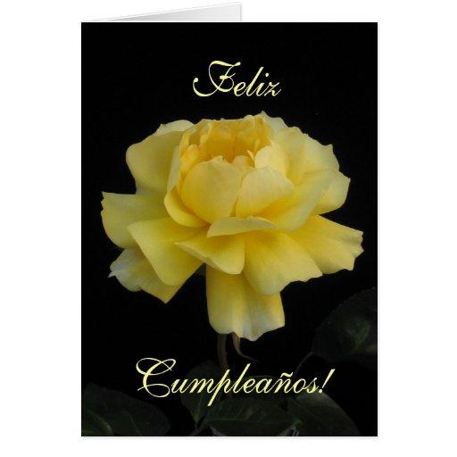 Español: cumpleaños Cumpleanos color de rosa, Rosa Tarjeton