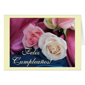 Español: Cumpleaños/Cumpleanos: rosas del seda y Tarjeta De Felicitación