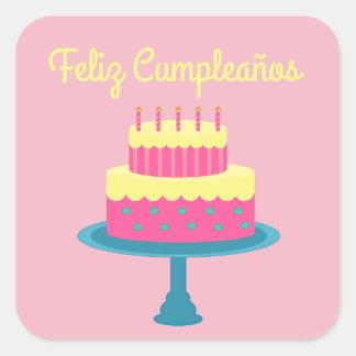 """Español """"cumpleaños de Feliz,"""" pegatina del feliz"""