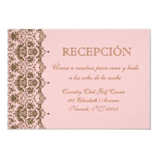 Espanol del en del tarjeta de Recepción de Boda Invitación 8,9 X 12,7 Cm