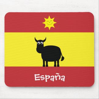 Español divertido Bull y bandera de Sun España Alfombrilla De Ratón