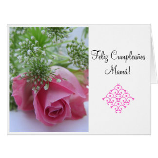 Español: ¡Feliz Cumpleanos Mamá! Grande Tarjeta De Felicitación Grande