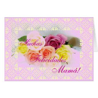 Español: ¡Feliz Cumpleanos Mamá! Tarjeta De Felicitación