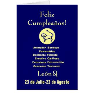 Español: León Cumpleanos Horoscopo Tarjeta De Felicitación