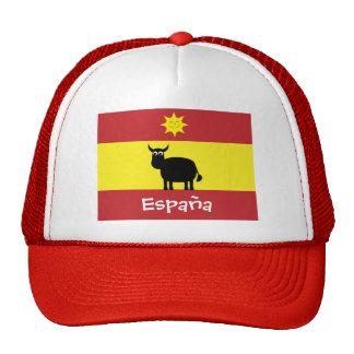 Español lindo Bull, Sun sonriente y bandera Gorra