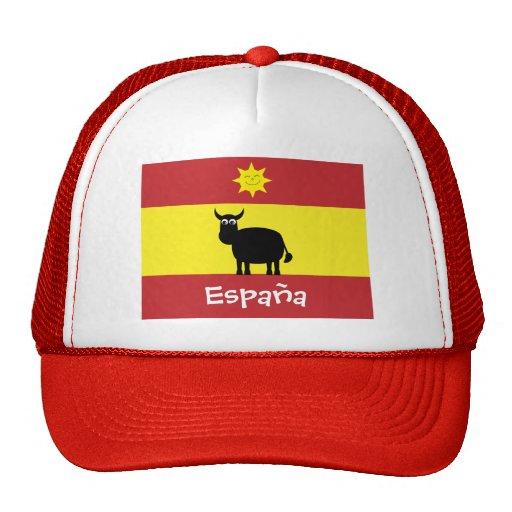 Español lindo Bull, Sun sonriente y bandera Gorros Bordados