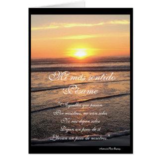 Español: poema Pesame/condolencia de puesta de sol Tarjeta