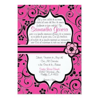 Español Quinceañera del rosa y del negro Invitación 12,7 X 17,8 Cm