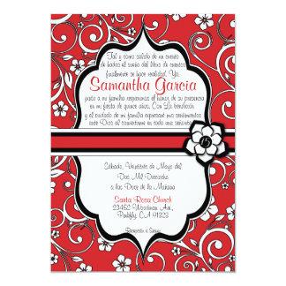 Español rojo y negro Quinceañera Invitación 12,7 X 17,8 Cm