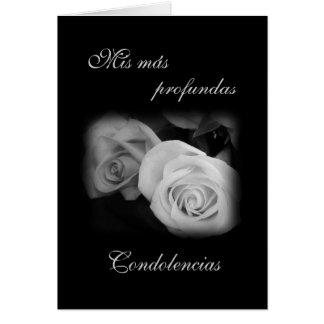 Español: Rosa negro y blanco - Condolencias Tarjeta