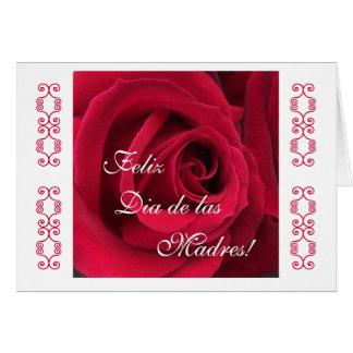 Español: Rosa rojo del día de madre Tarjeta