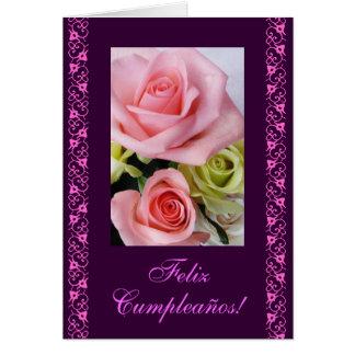 Español: Rosas rosados/rosas de cumpleanos del Tarjeta