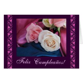 Español: Rosas rosados/rosas de cumpleanos del Tarjeta De Felicitación
