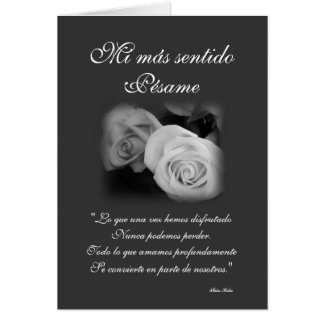Español: Tarjeta de condolencia de Pesame B&W