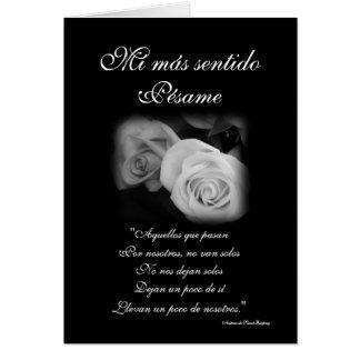 Español: tarjeta de condolencia de Pesame B&W del