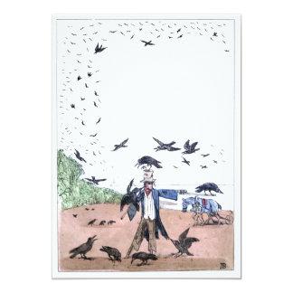 Espantapájaros en una granja invitación 12,7 x 17,8 cm