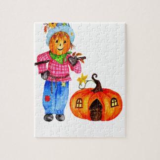 Espantapájaros que guarda la calabaza de Halloween Puzzle